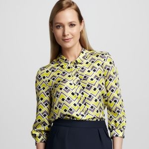 Kate Spade Felicity Deco-Print Silk Blouse